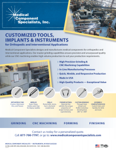 Medical Components Specialists- Customized Tools, Implants & Instruments Datasheet